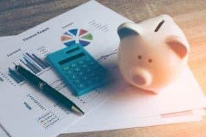 piggy bank and finance report