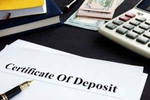 piece of paper with Certificate of Deposit written on it
