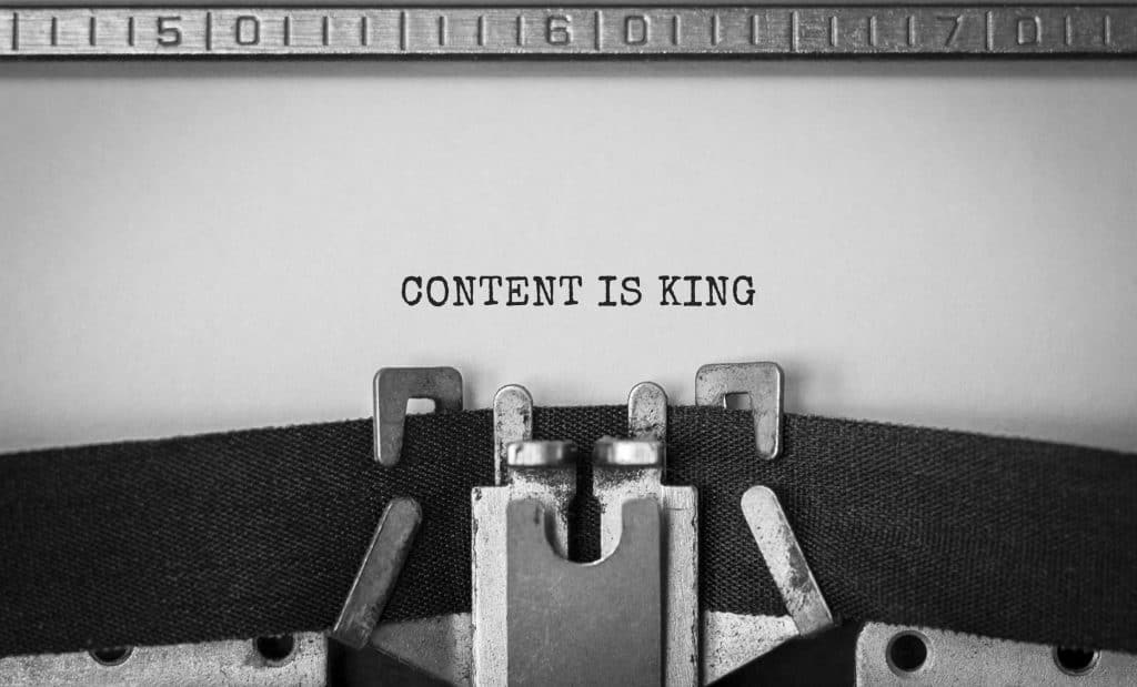 Content Is King typed on a page signifying that content brings the best SEO.