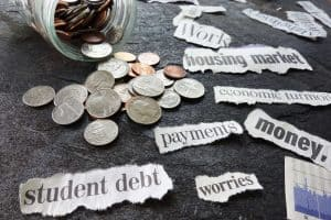 stressed about money including student debt, payments, housing market, economic turmoil