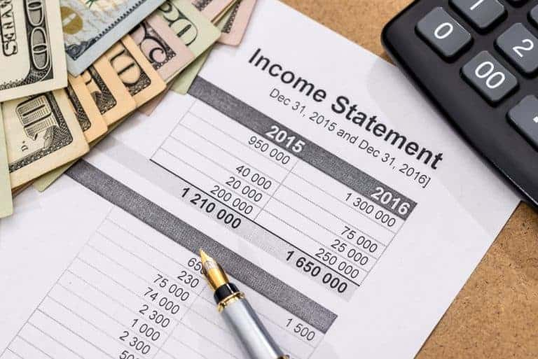 income statement for a company between 2015 and 2016
