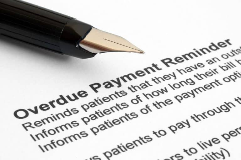 Overdue payment reminder page where the payee may be sent to a collection agency
