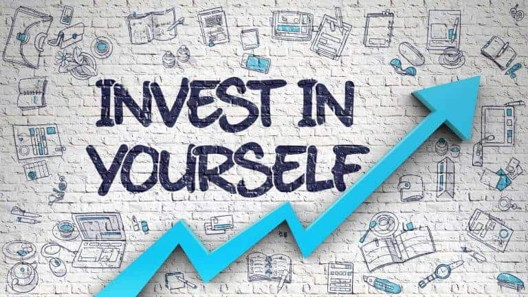 Invest in yourself with an upward arrow showing positive growth