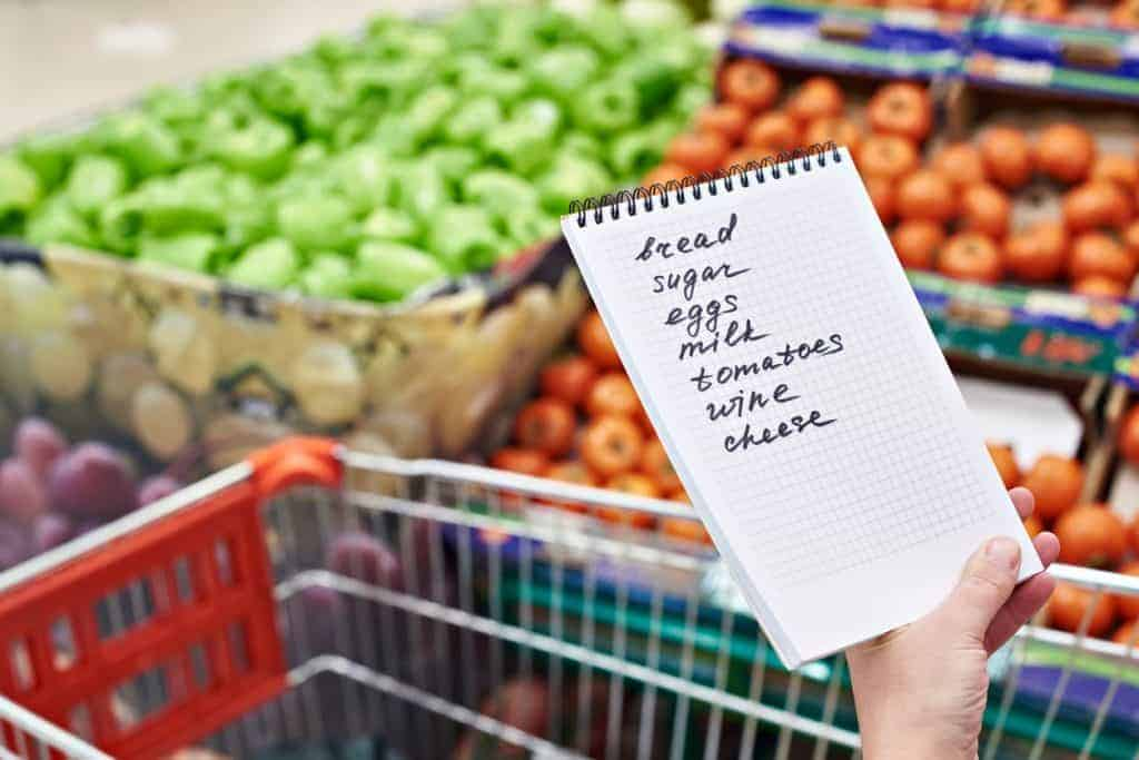 hand holding a shopping list at a supermarket with a cart and produce
