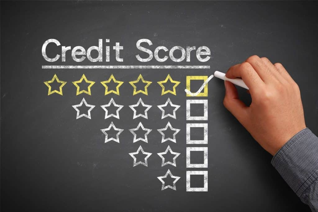 credit score ratings one star through five stars. Five stars checked for raising credit score to excellent